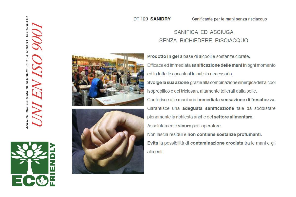 Sanificante gel delle mani senza risciacquo