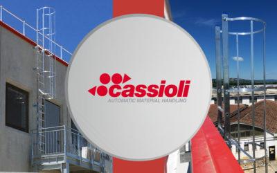 Scala per accesso in copertura presso ampliamento stabilimento Cassioli Srl di Torrita di Siena.