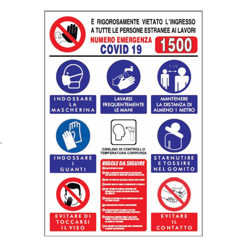 """Cartello segnaletico riassuntivo """"Norme anti contagio covid"""""""
