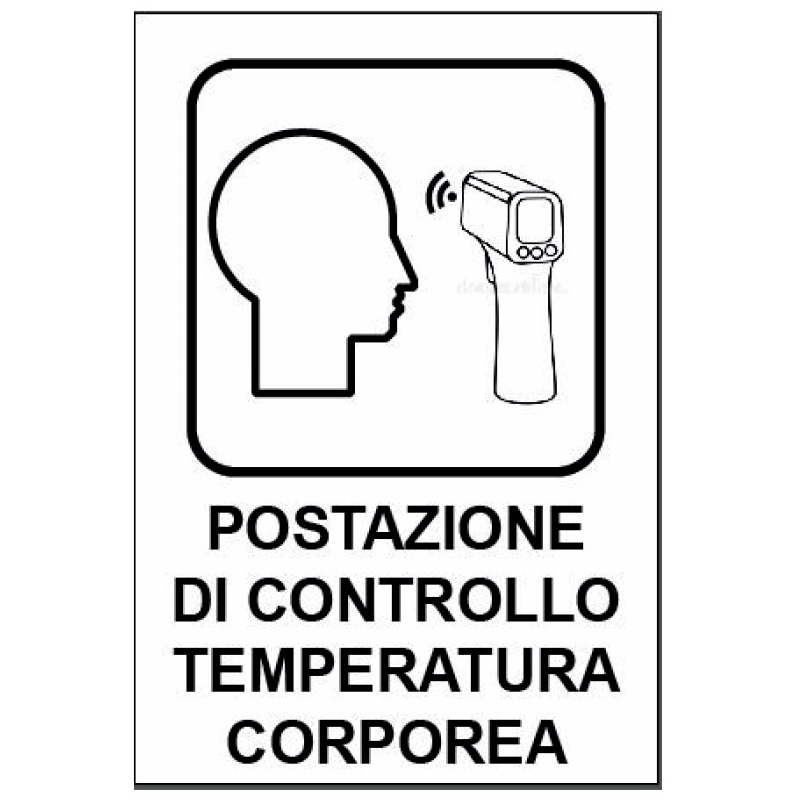 """Cartello segnaletico """"Postazione di controllo temperatura corporea"""""""